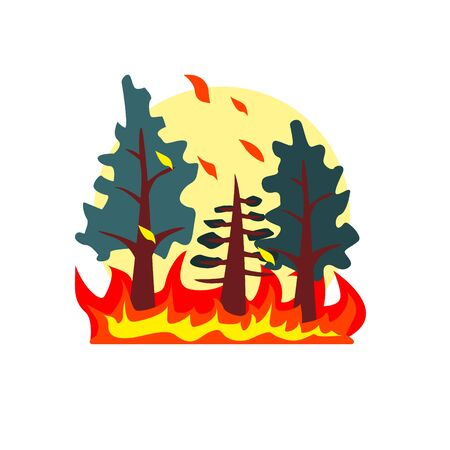 conflagration: Blazing Forest Natural Force Flat Vector Simplified Style Graphic Design Icon Isolated On White Background