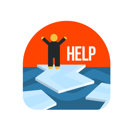 floe: Man On Ice Floe Crying For Help Flat Vector Simplified Style Graphic Design Icon Isolated On White Background