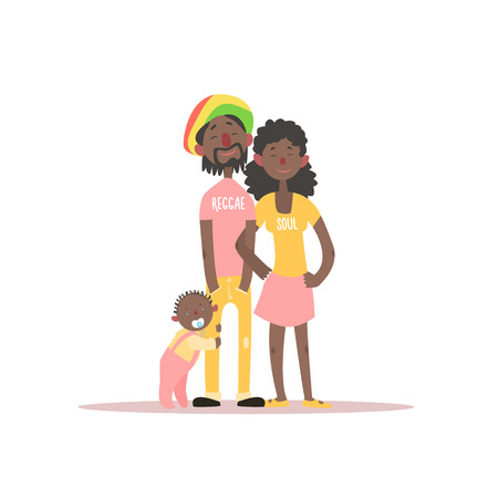 rastafarian: Parents And A Baby Rastafarian Family Simple Childish Flat Colorful Illustration On White Background