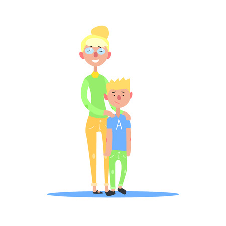 teenage couple: Mother And Teenage Son Blonde Couple Simple Childish Flat Colorful Illustration On White Background