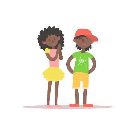 begging: Brother And Sister Black Kids Simple Childish Flat Colorful Illustration On White Background
