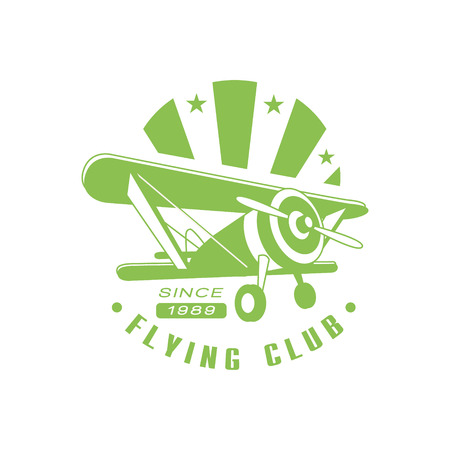 established: Flying Club Green Emblem Classic Style Vector With Calligraphic Text On White Background Illustration