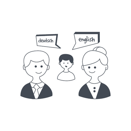 synchronized: Synchronized Translation On Business Meeting Black And White Hand Drawn Illustration In Simplified Graphic Style On White Background