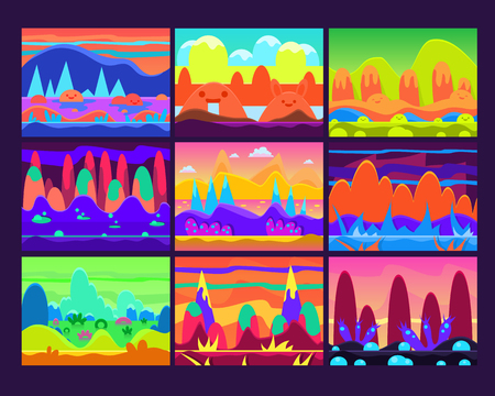 imaginary: Set of Game background and imaginary landscapes in bright colors, vector illustration