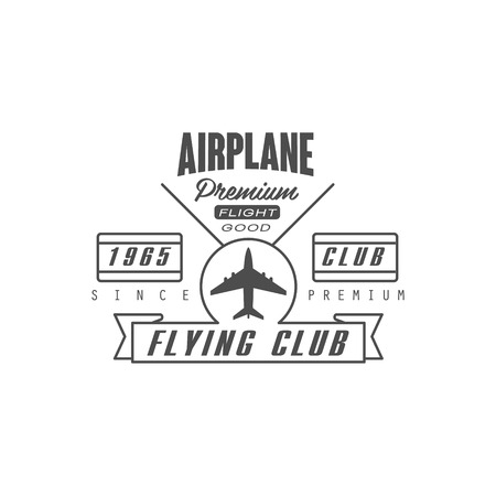 established: Airplane Premium Club Emblem Classic Style Vector   With Calligraphic Text On White Background Illustration