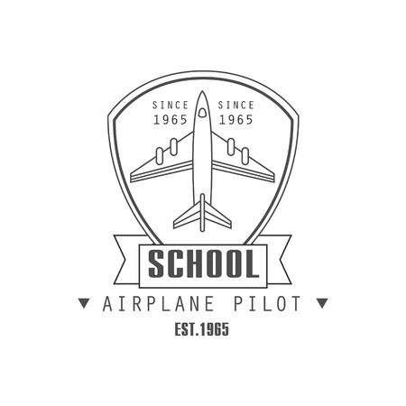 established: Airplane Pilot School Emblem Classic Style Vector   With Calligraphic Text On White Background