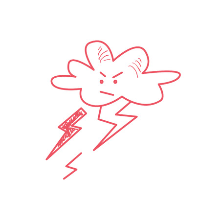 pissed off: Cloud Striking With The Lightning Bolts Hand Drawn Childish Illustration In Funny Comic Style On White Background