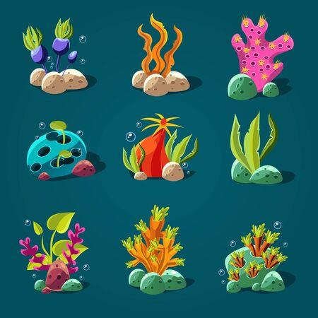 algae cartoon: Set of cartoon algae, elements for aquarium decoration. illustration.