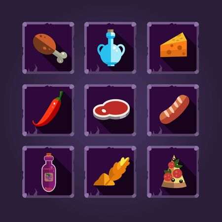Resource icons for games. Food and potions. illustration.