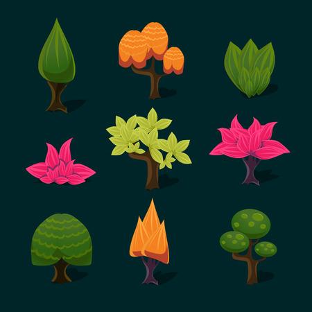 illustration of isolated set of tree background