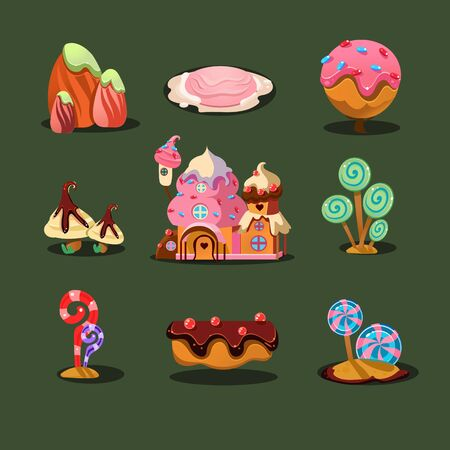 The sweet house from cookies, islands from sweets, caramel trees. Magic elements for game. illustration