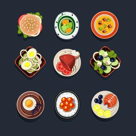 side dish: Set of traditional food icons illustration Stock Photo
