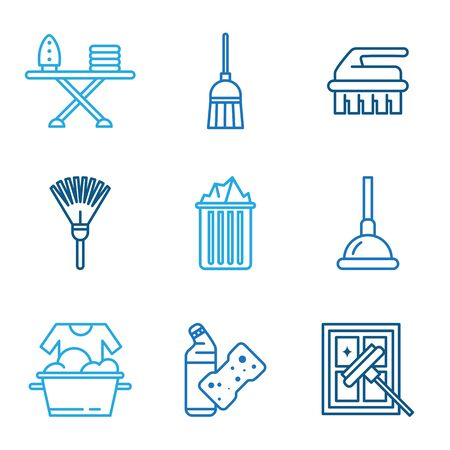 vacuum cleaner worker: Cleaning tools icons in flat color style Stock Photo