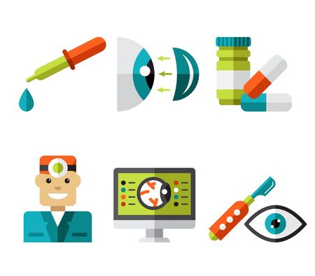 eye exams: Optical icons, ophthalmology icons set, symbols Stock Photo