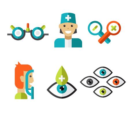 ophthalmology: Optical icons, ophthalmology icons set, symbols Stock Photo