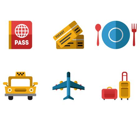 airport security: Airport icons flat set with baggage check airplane security control isolated illustration