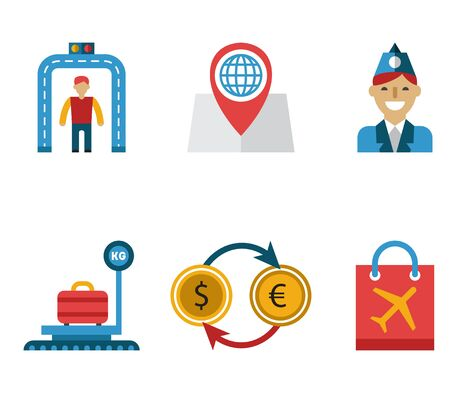 Airport icons flat set with baggage check airplane security control isolated illustration
