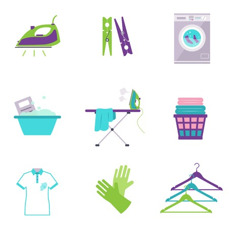 dusting: Cleaning tools icons in flat color style Stock Photo