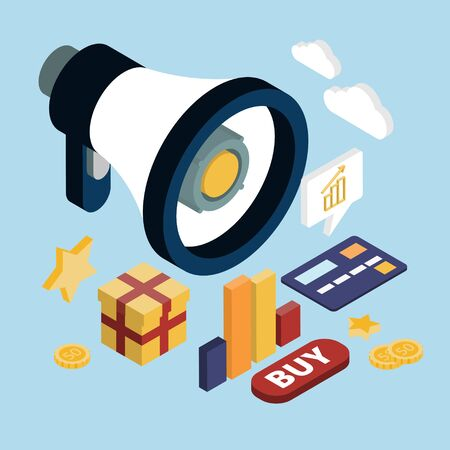 proclaim: Promotion online marketing flat 3d web isometric infographic modern technology communication concept. Huge loudspeaker Stock Photo