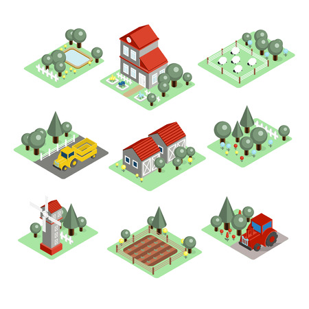 grain storage: Detailed illustration of a Isometric Farm Set Tiles Stock Photo