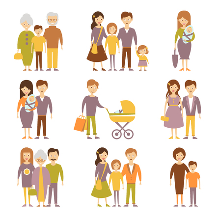 parents and children: Family figures icons set of parents children couple isolated illustration Stock Photo
