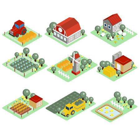 grain fields: Detailed illustration of a Isometric Farm Set Tiles Stock Photo