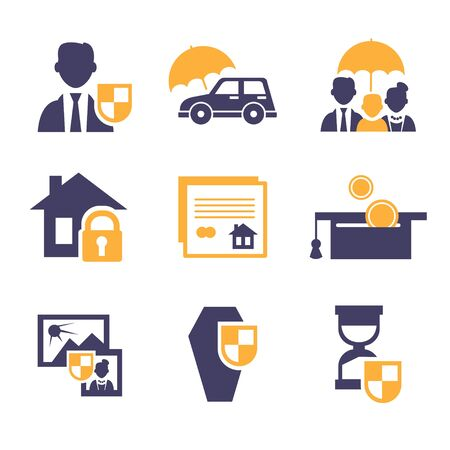 family policy: Set insurance icons set illustration modern style Stock Photo