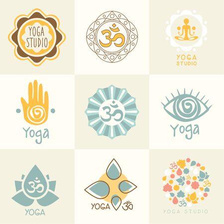 omkara: Set of yoga and meditation graphics and   symbols