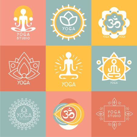 yoga meditation: Set of yoga and meditation graphics