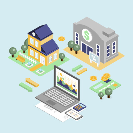 home loan: Bank credit and home loan concept with isometric house and financial icons illustration Stock Photo