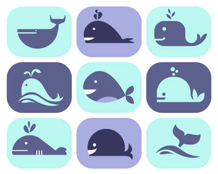 Collection of whale icons and illustrations