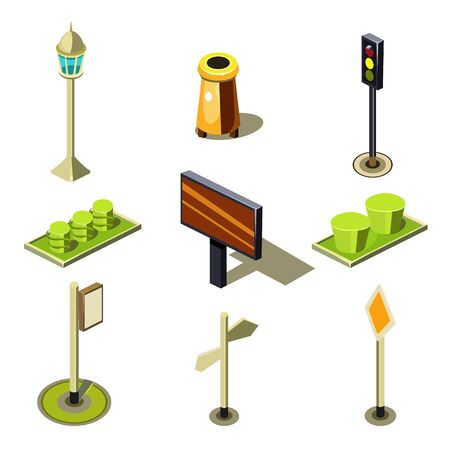 citylight: Flat 3d isometric high quality city street urban objects icon set. Traffic light street lights big board citylight bus transport stop road signboard. Build your own world web infographic collection. Stock Photo