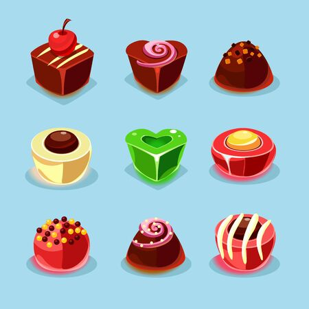 sweetstuff: Sweets and candies icons set illustration in modern style for different use
