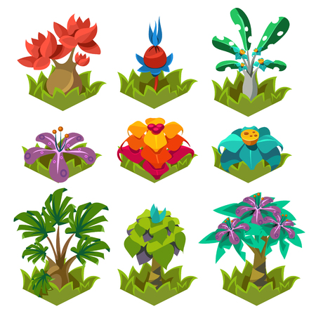 weeping willow tree: Set of garden plants with flowers for you design and computer game