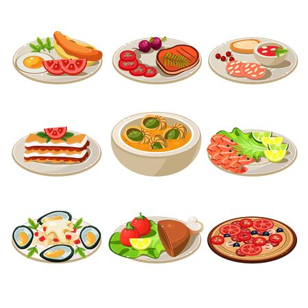 different courses: Set of food icons. European lunch. illustration
