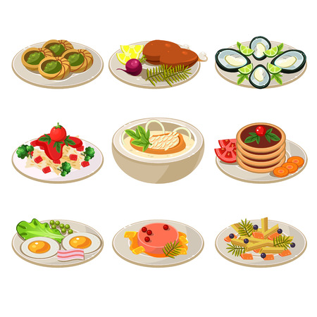 main course: Set of food icons. European lunch. illustration