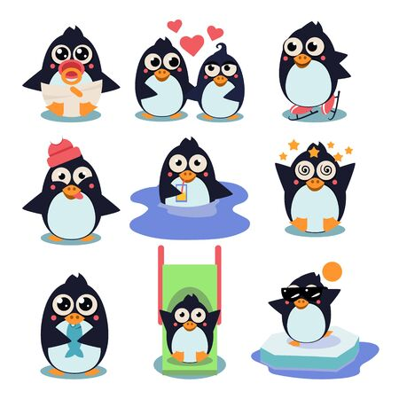 Penguin set illustration, with penguins in different situations like dancing, fishing, winter, swimming, eating, in love collection.