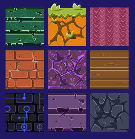 textures: Different materials and textures for the game. flat set Stock Photo