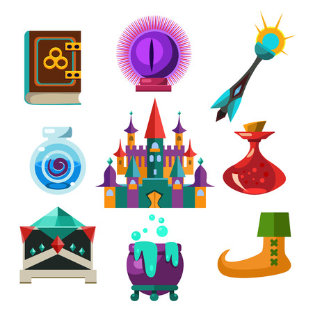 frog queen: Collection of fairy tale elements, icons and illustrations