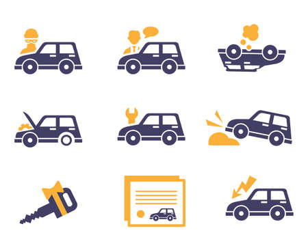 gift accident: Car Insurance icons in flat color style Stock Photo