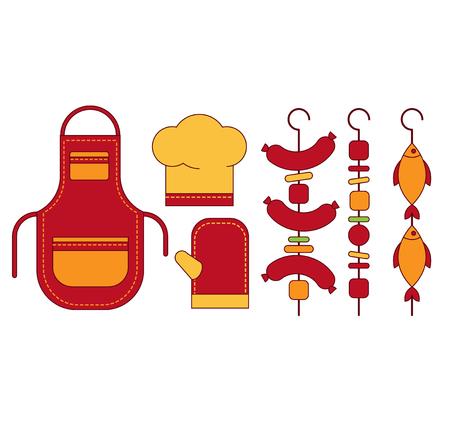encendedores: elementos de Infografía de la parrilla de alimentos a la parrilla, asado, bistec plana ilustración inconformista concept.can ser utilizados para el diseño, la publicidad y el diseño web.