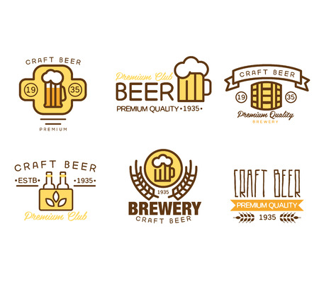 beer house: Set of vintage badge,   templates and design elements for beer house, bar, pub, brewing company, brewery, tavern, restaurant Stock Photo