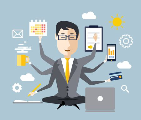 multitasking: Businessman with multitasking and multi skill. Keep calm. Business concept. Flat design Stock Photo