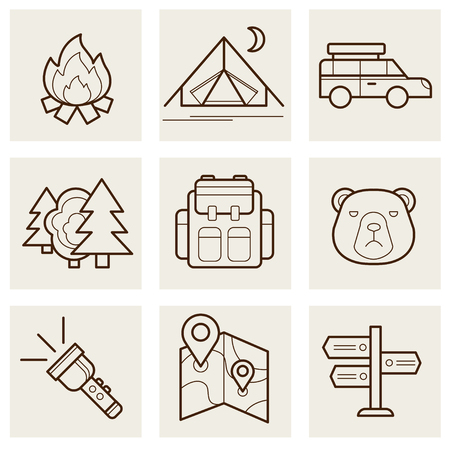 Camping and Outdoor outline icons set illustration