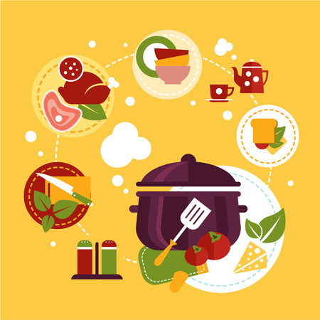 mushroom soup: Healthy fresh food flat concept depicting cooking process with ingredients and kitchen utensil. Flat