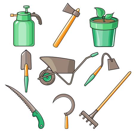 Charmant Set Of Various Gardening Items. Garden Tools. Flat Design Illustration Of  Items For Gardening