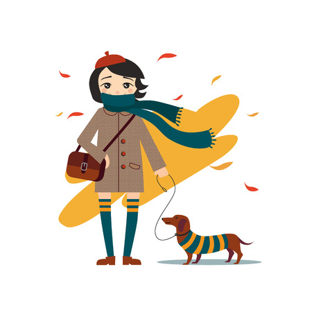 dog walking: Young pretty girl walking with dog illustration