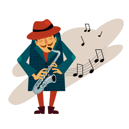 soloist: Saxophonist playing love melody illustration in modern style for different use Stock Photo
