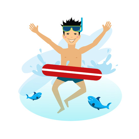 inflatable: Boy swimming with inflatable circle illustration