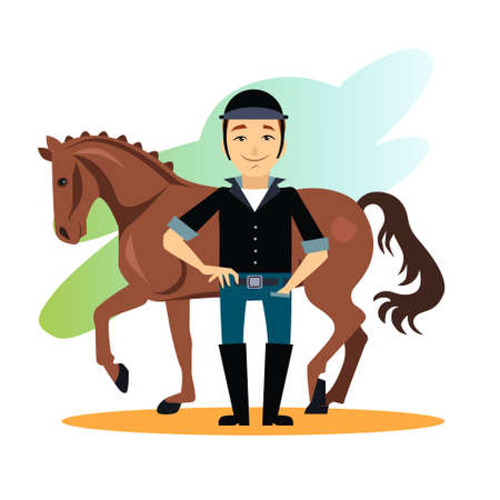 equestrian sport: Jockey design concept set with stable equestrian sport awards flat icons isolated illustration